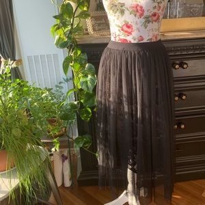 Black tulle lace skirt